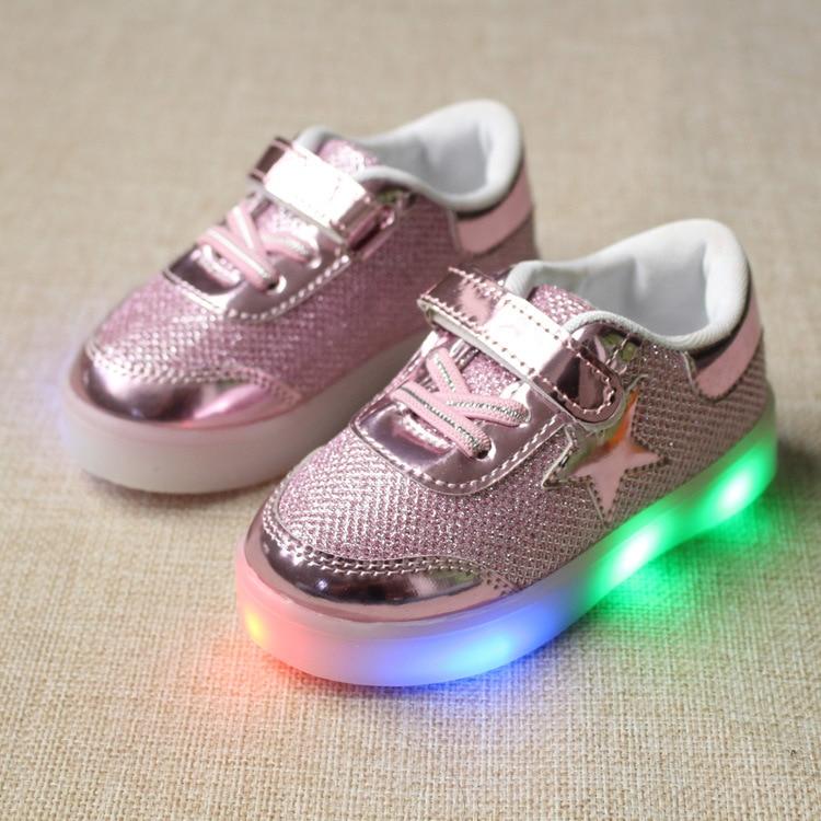 Größe 21-30 Neue Kinder Mädchen Jungen Schuhe Kleinkind Kleinkind Kinder Schuhe Stern Kristall Led Licht Leucht Laufschuhe Sport schuhe Turnschuhe