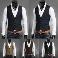 mens formal business waistcoat suit vest wedding party jacket breasted slim tops