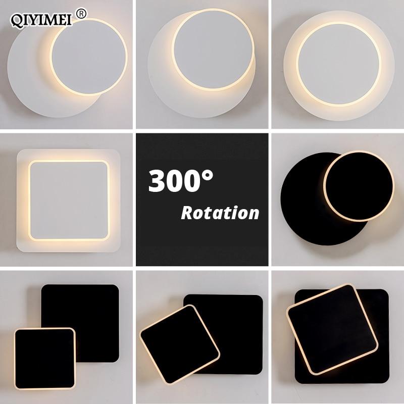 quadrado conduziu a lampada de parede para o quarto sala estar branco preto arandela