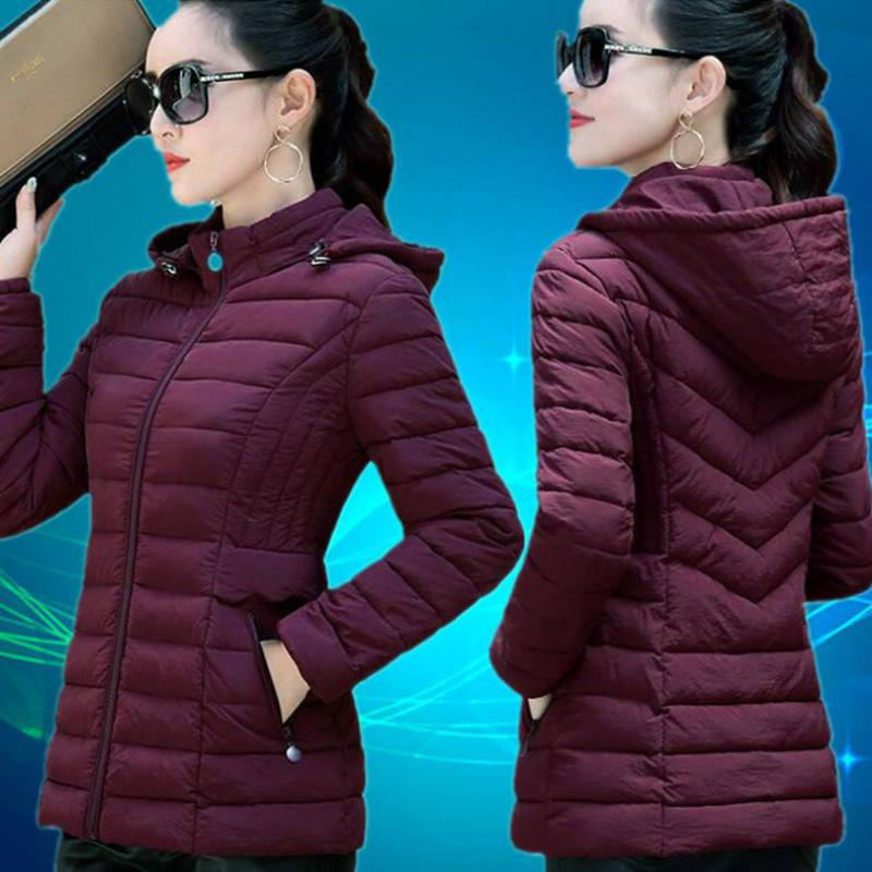 أبلى الخريف والشتاء النساء معطف القطن الكورية موضة الأم مع أسفل لوحة قطن رمادي المرأة سترة جاكيتات فيست فام 6XL