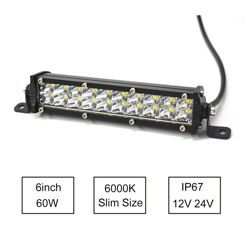 ECAHAYAKU-Barra de luces Led ultradelgada de 7 pulgadas, doble hilera, 60W, 6000K,...
