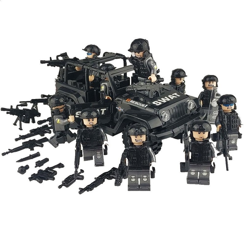 war accessories military cannon scenes guns weapons swat sandbag for land force moc building blocks toys for kid gifts legoingly Kids Military Special Forces Building Blocks Soldiers Figures Weapons Compatible SWAT Building Blocks Toys for Children