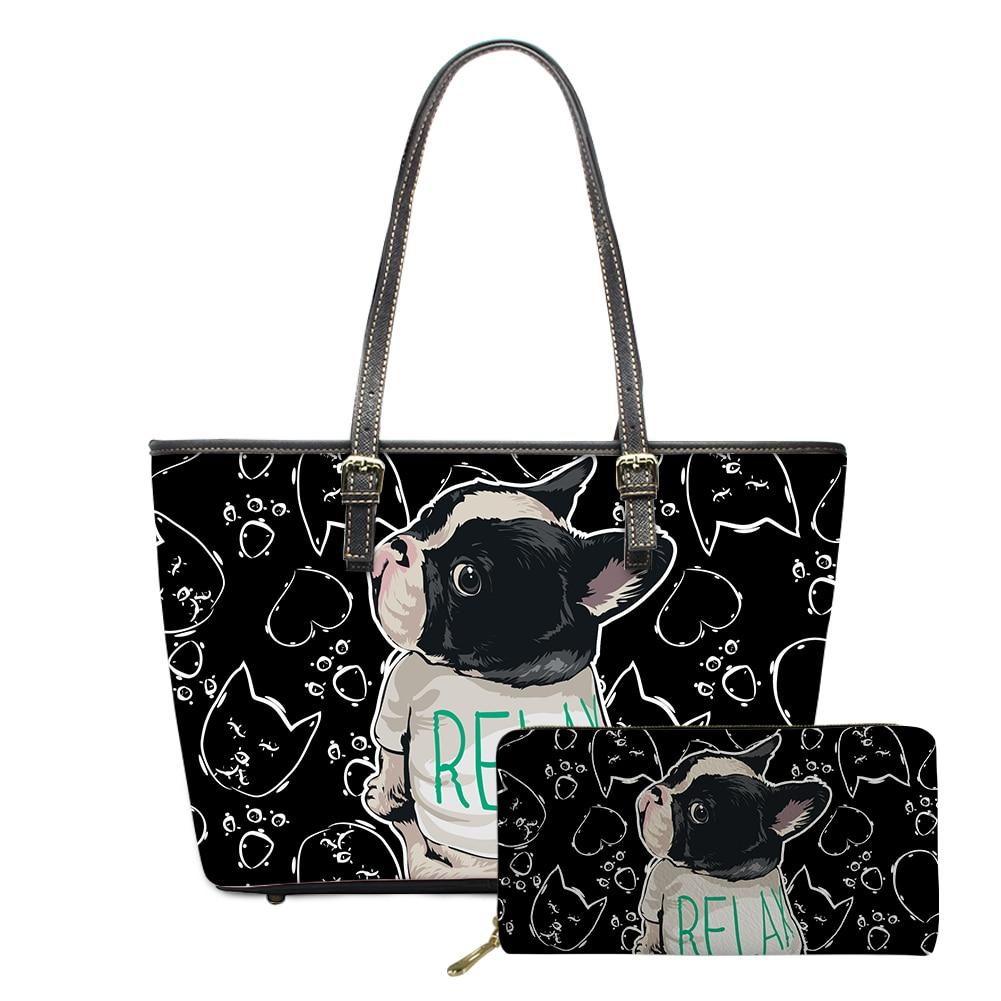 Noisydesigns تريند الفرنسية بولدوج طباعة حقيبة الكتف للسيدات من جلد بلوتونيوم ومحافظ 2 قطعة حقائب اليد السيدات سعة كبيرة