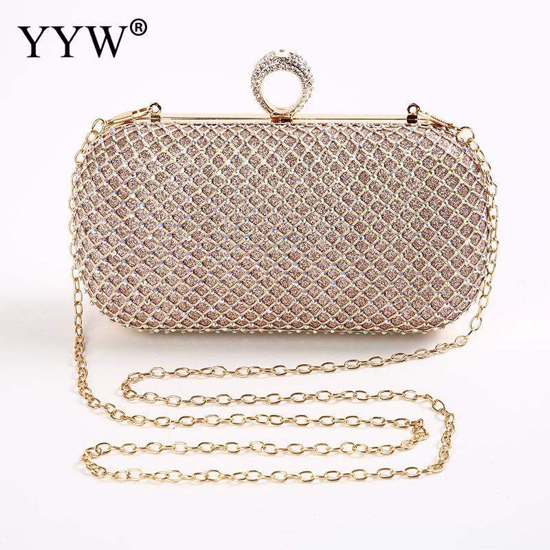 Plaid Gold Evening Clutch Bag Evening Bags Women Ladies Clutch Fashion Shoulder Bag Small Clutch With Gold Rhinestones 4 Colors sparkling sequins ladies wedding clutch bags fashion women gold silver evening bag party evening envelope clutch bag wallet tote
