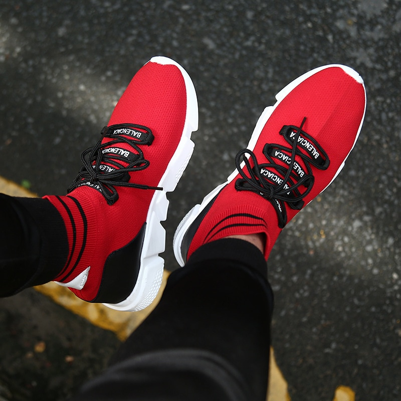 Fashion Casual Shoe For Men 2018 Weaving Fly Breathable Mesh Black Slipon Shoes Lover Couple Trainers Sneakers Mens Human Race enlarge