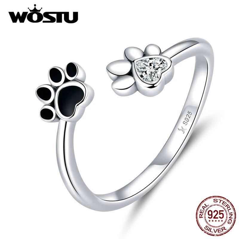 WOSTU 100% de Plata de Ley 925 de la pata de perro mascotas anillo con huellas para las mujeres boda compromiso ajustable anillos de joyería de moda FIR605
