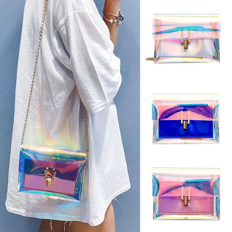 3 colores moda mujer bolsos láser transparente Tote holograma bolso de mano bolso de hombro monederos