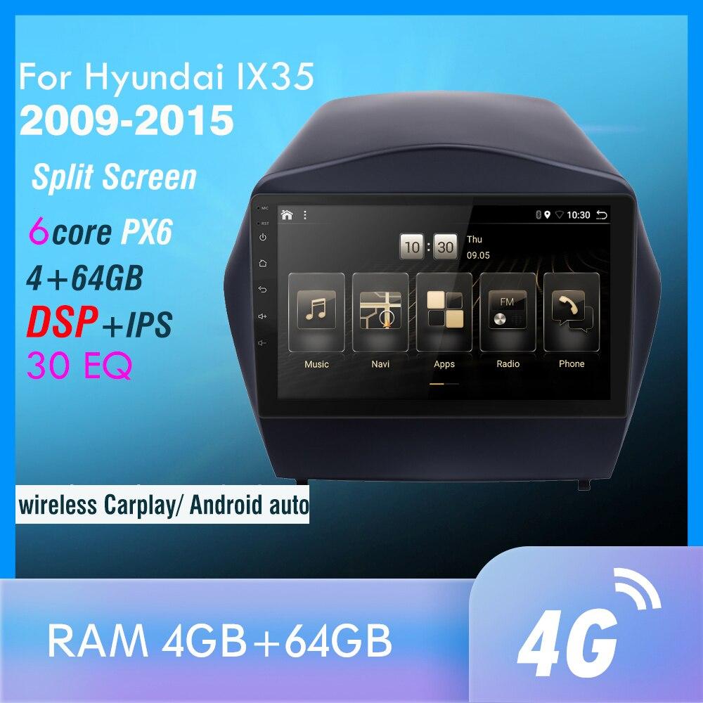 4G + 64GB PX6 DVD לרכב מולטימדיה נגן עבור 2009 2010 2011 2012-2015 IX35 2din אנדרואיד 10.0 רדיו אוטומטי ניווט GPS 4G