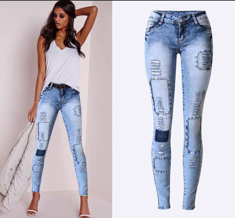 Sherhure-بنطلون جينز نسائي ممزق ، بنطلون جينز مطاطي ، ماركة أزياء ، مقاس كبير