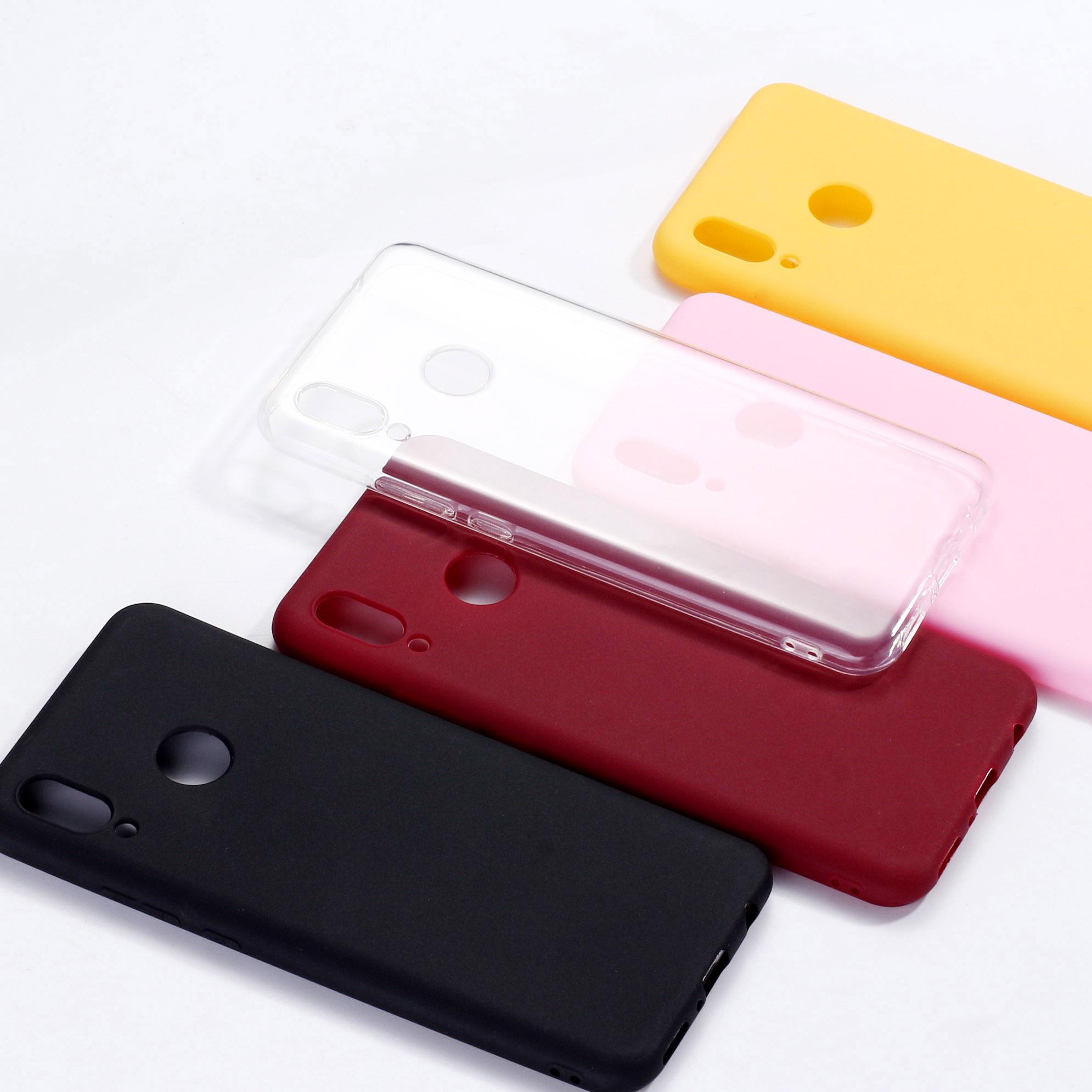 Funda de teléfono de silicona transparente para Xiaomi Mi Redmi Note 5, 6, 7, 8 y 9 lite Pro Plus, Color sólido y sencillo