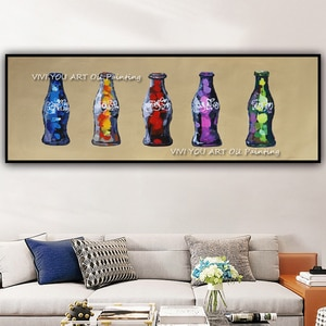 The Color Glass Bottle Drink Abstract Handmade Oil Painting Wall Art on Canvas Painting Wall Decoration Pictures for Living Room