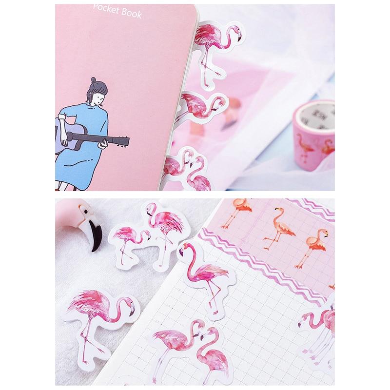 45Pcs Pink Flamingo Kawaii Stickers Aesthetic Waterproof Decorative Scrapbooking Water Bottle Stationery Supplies Graffiti Decal