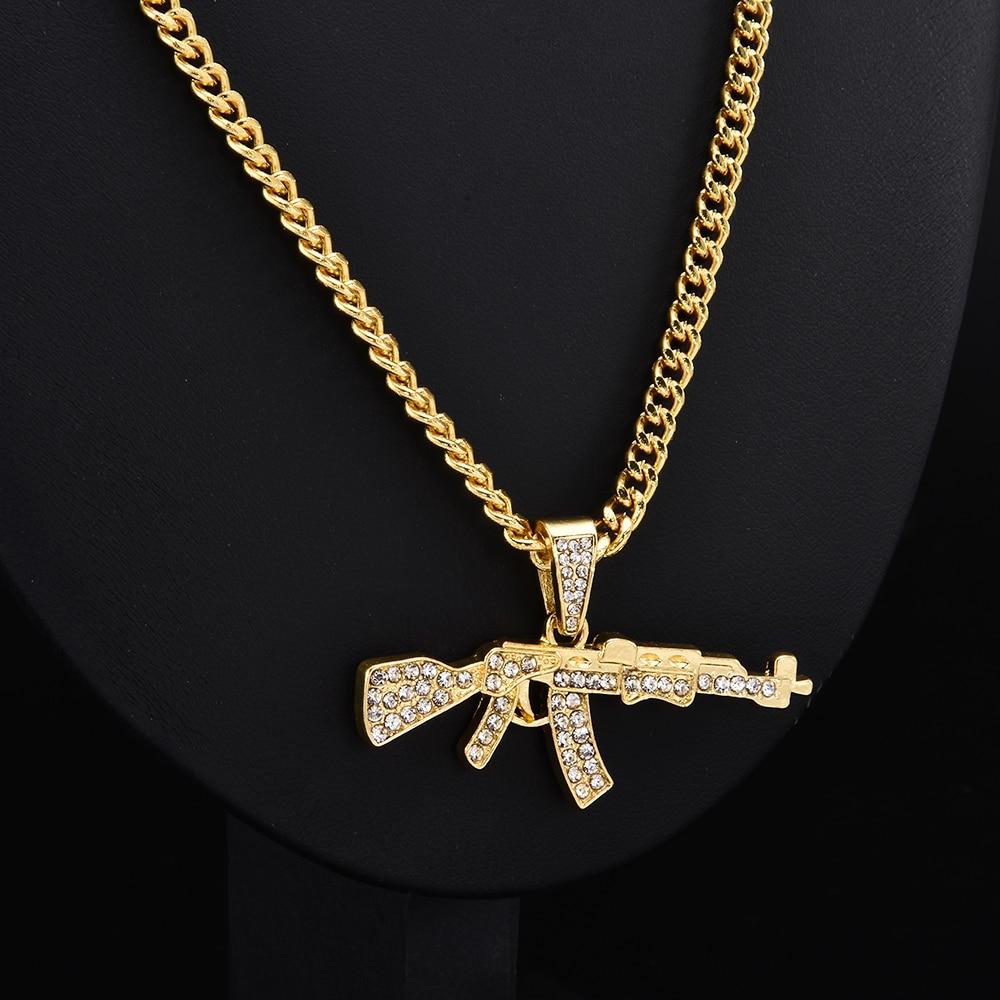 Fashion Choker Necklaces for Women 2020 Gun Pendant Crystal Rhinestone Chain Necklace Women Men Punk Chains Jewelry Gift
