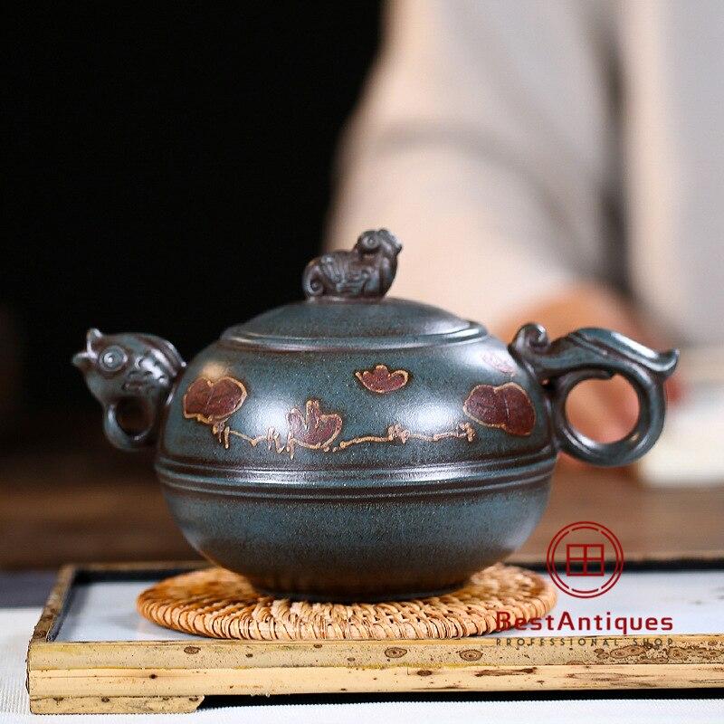 Tetera Yixing Zisha de arcilla púrpura, teteras hechas a mano htang Yuese 450cc