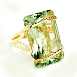 Vintage Female Green Crystal Stone Ring Classic Gold Color Engagement Ring Luxury Square Zircon Wedding Rings For Women
