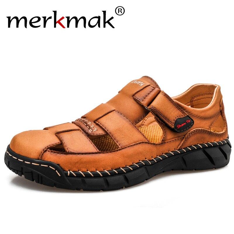 Sandalias de hombre Merkmak, sandalias suaves de verano, zapatos cómodos para hombre, sandalias de piel auténtica, sandalias romanas de playa para exteriores de talla grande para hombre