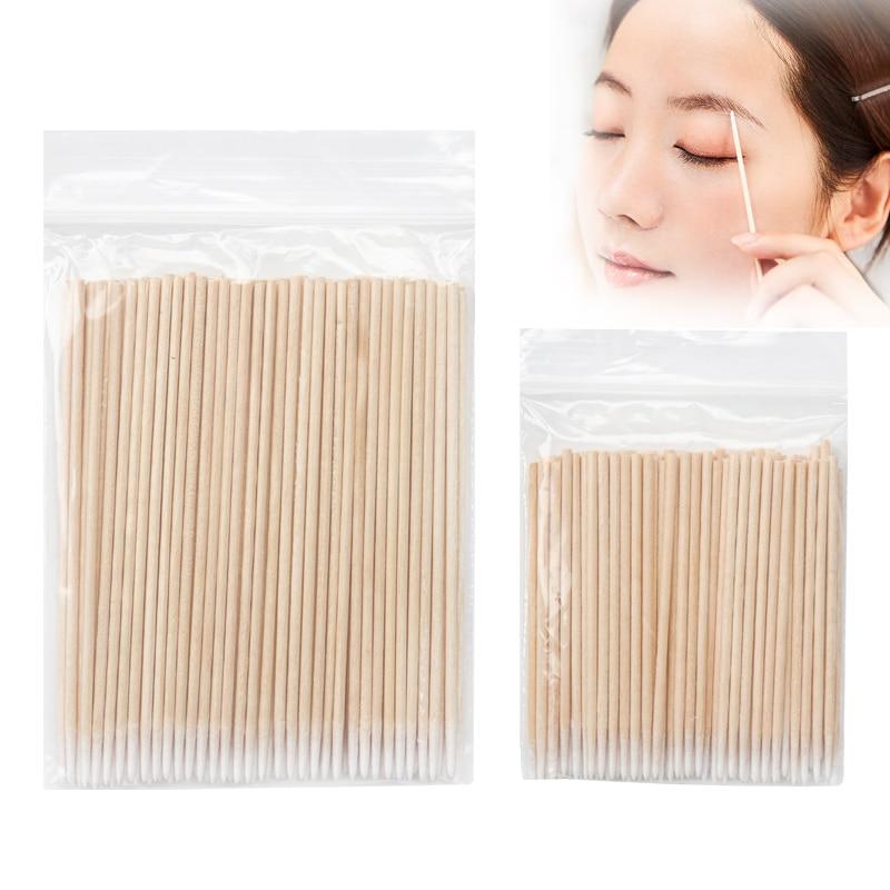 100 pcs Disposable Ultra-small Wood Cotton Swab Lint Free Micro Brushes women Make Up tool Eyelash E