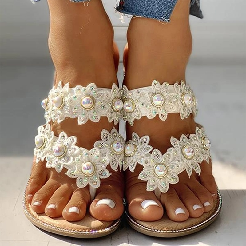 Zapatillas de señora talla grande 43 con estampado de perlas para mujer Chanclas de playa suave y acogedor cortex interior zapatos de lujo conjunto caliente dedo del pie