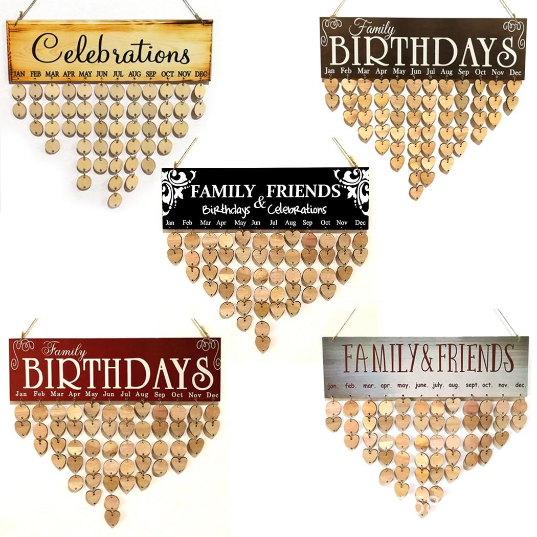 DIY, Calendario de madera, recordatorio de cumpleaños, registro de fecha especial, signo en blanco, planificador, tablero, Calendario colgante de pared para el hogar, regalo de decoración de fiesta