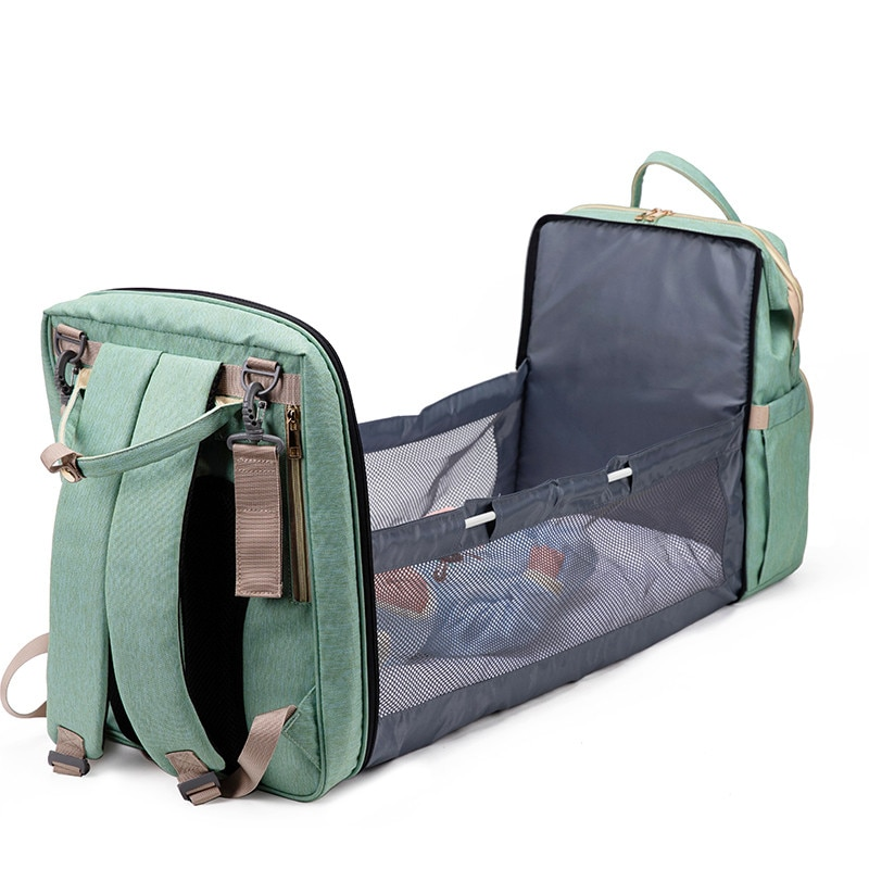 Portable Baby Folding Sleeping Backpack Diaper Bags Mini Baby Bed Bag Mommy Backpack Large Capacity Stroller Bag With Hook