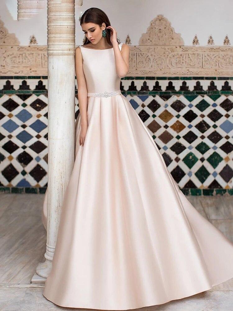 Luxury Matte Soft Satin A Line Wedding Dresses Sleeveless High Waist Gowns O Neck Diamond Backless Buttons