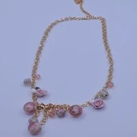 krasivaya ceramic pink beads with flower italy style necklace for women fashion jewelry