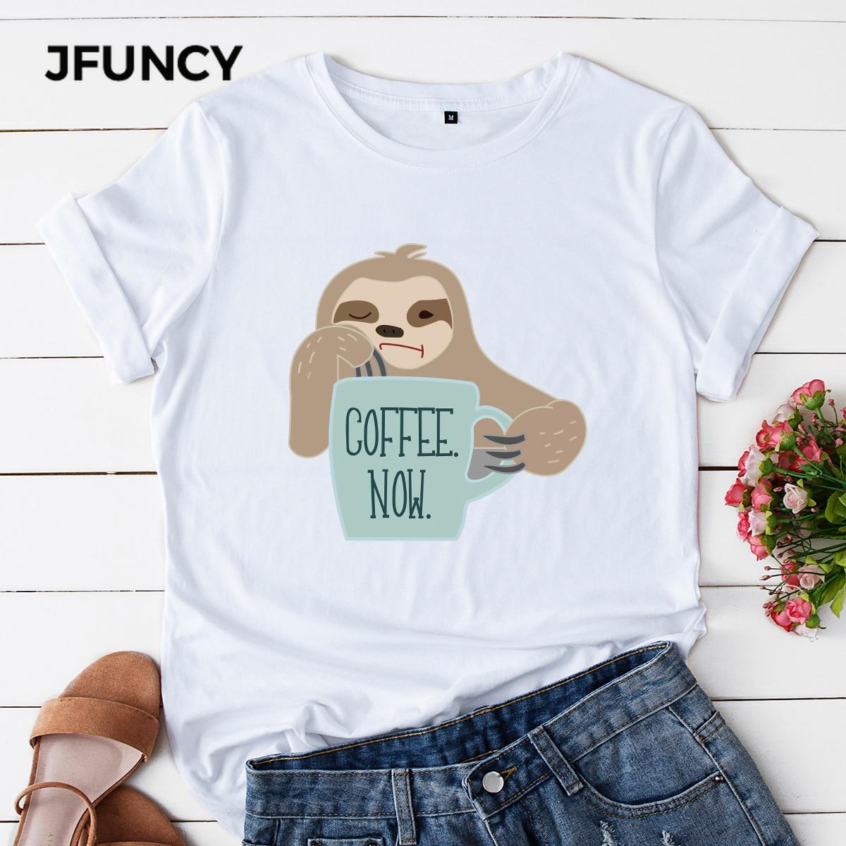 JFUNCY женские футболки размера плюс, женские хлопковые футболки, футболки с принтом кофейного сейчас, женские летние топы, корейские футболки...