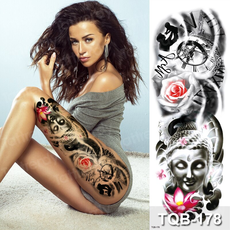 Tatuajes Temporales grandes impermeables diseños de tatuaje de manga de cráneo para hombres mujeres sexy tatuaje grande bikini pegatinas Rosa lotus death