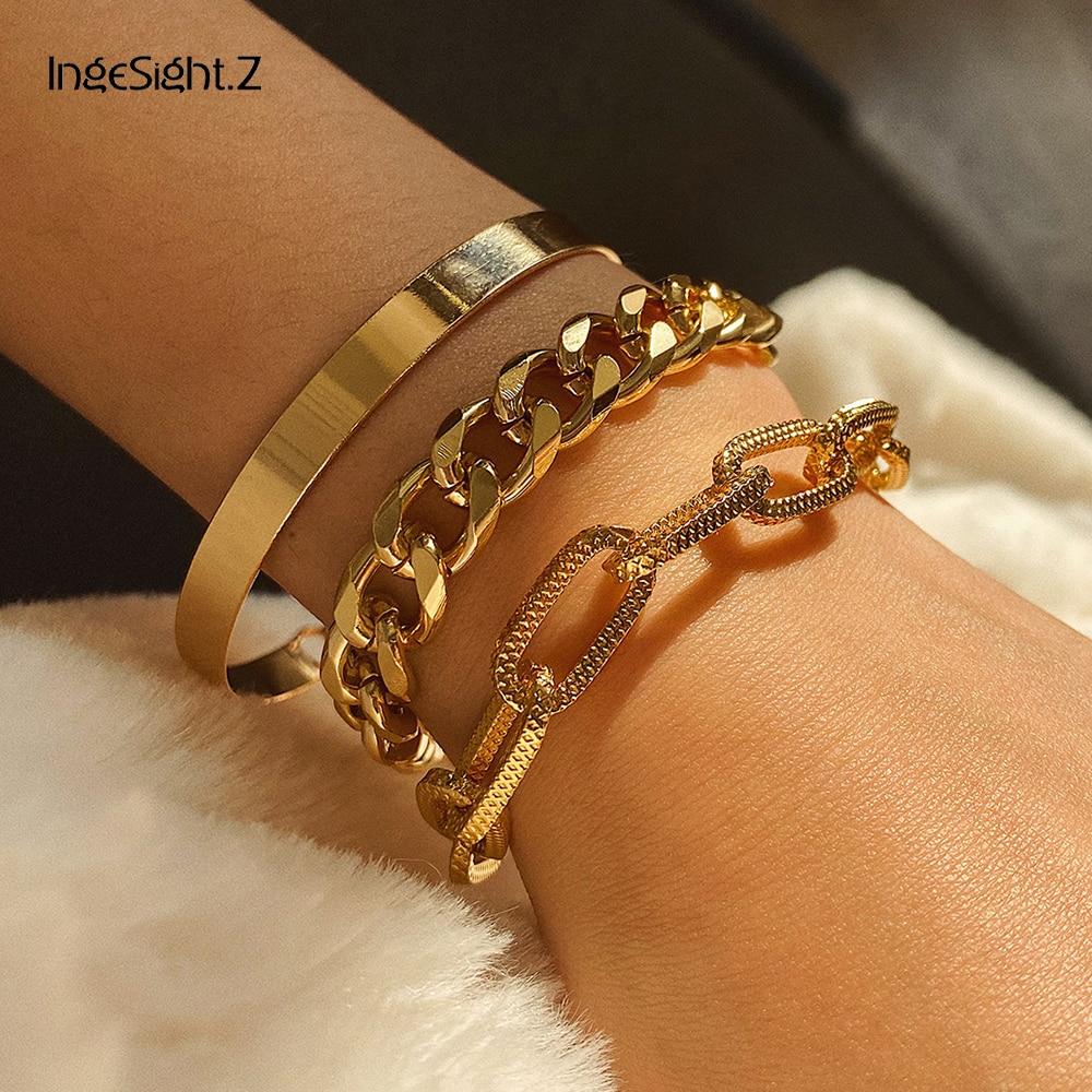 Ingesight. z 3 pçs/set punk miami curb cubano grosso torcido pulseiras pulseiras simples cor do ouro metal link jóias
