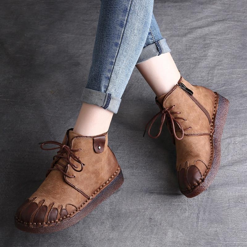 موضة النساء الأحذية حذاء مسطح مستديرة الإناث النساء أحذية ماركة موضة أحذية عالية الساق من الجلد الإناث 2021 حذاء امرأة غير رسمي