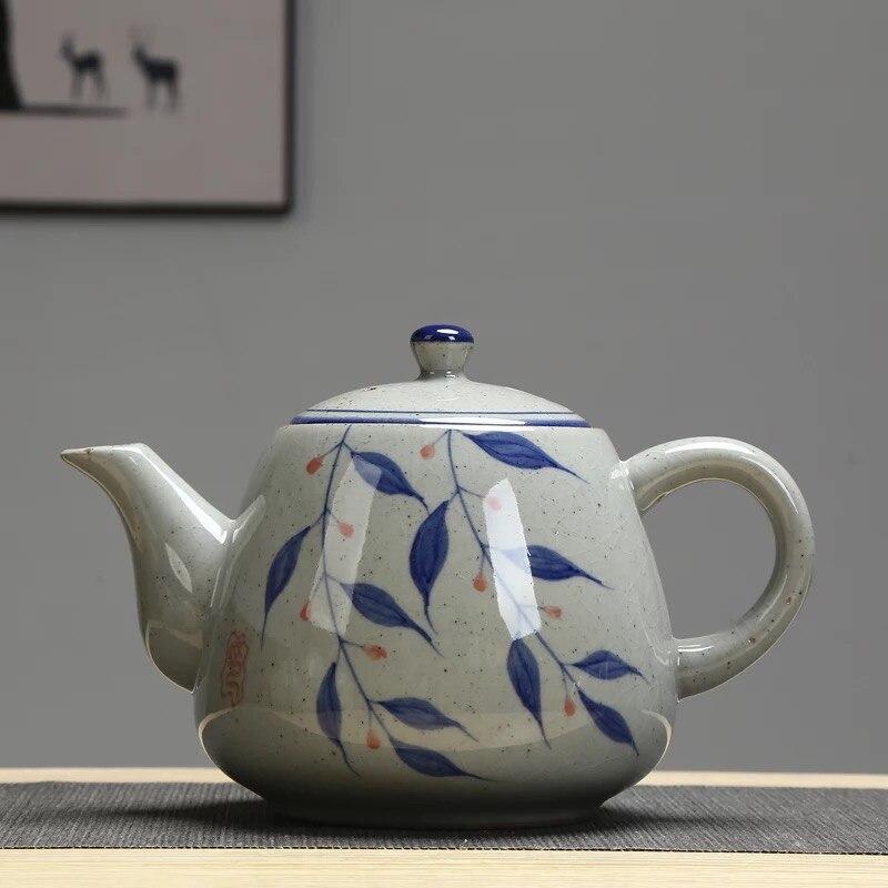 Ceramic Large Teapot With Handle Vintage Hand-painted Blue-and-white Porcelain Filter Teapot 900ml Restaurant Pot недорого