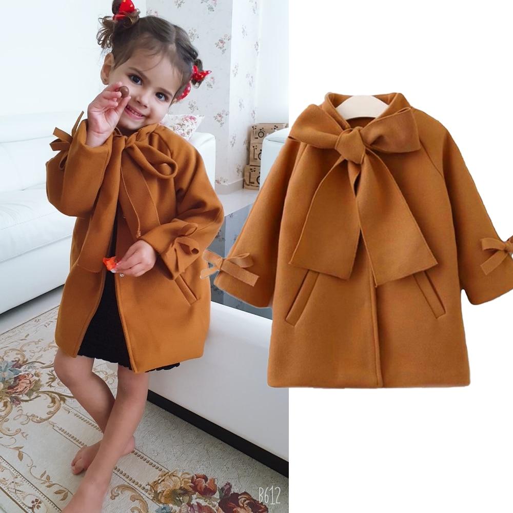 Симпатичная Детская Футболка с рукавами для маленьких девочек; Шерстяное пальто с бантом однобортный пальто для девочек зимняя верхняя оде...