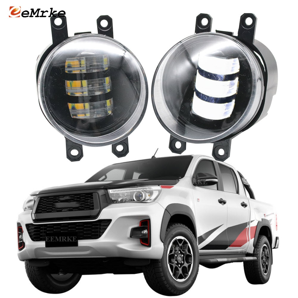 2-Pcs White+ Yellow LED Anti Fog Lights Lamp for Toyota Hilux 2018 2019 Foglight Lamp Car Accessories