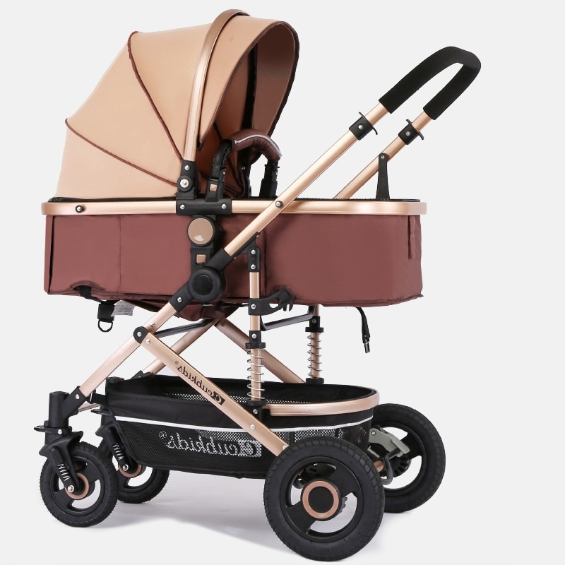 Luxurious Baby Stroller  2 in 1 stroller lying or dampening folding light weight two-sided child four seasons