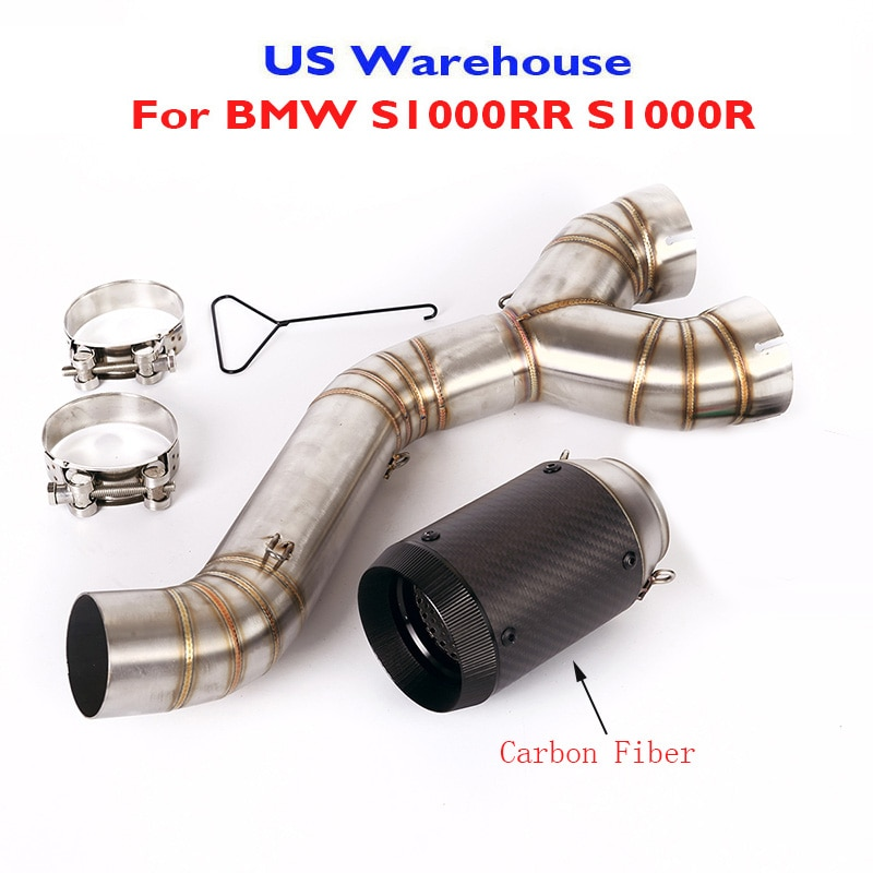 Motorcycle Exhaust Connect Link Pipe Carbon Fiber Muffler Tips Escape for BMW S1000RR 2010-2014 S1000R 2010-2016