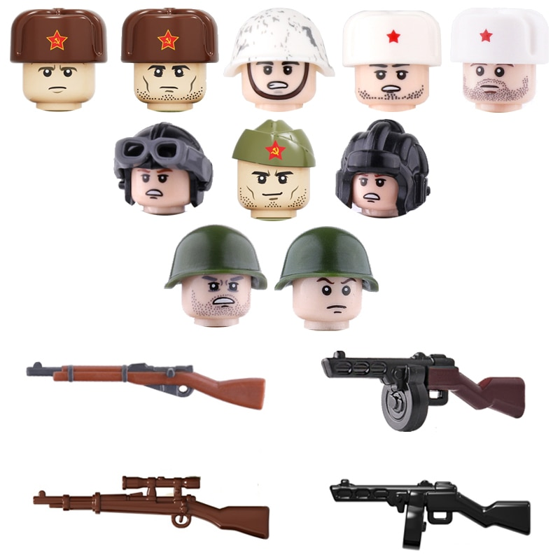 war accessories military cannon scenes guns weapons swat sandbag for land force moc building blocks toys for kid gifts legoingly WW2 Military Soviet Union Soldiers Weapons building blocks Military Weapons PPSH Guns Helmets Bricks Weapons Parts blocks toys
