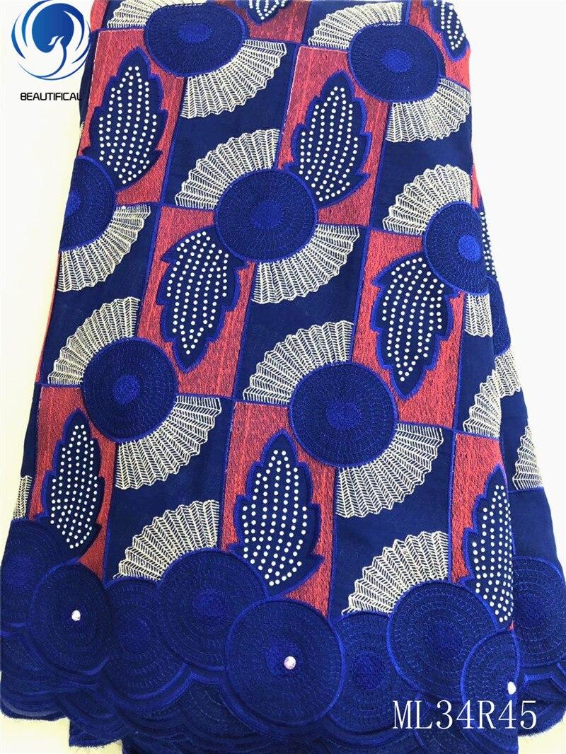 BEAUTIFICAL de algodón nigeriano estilo de tela de encaje de gasa 5 yardas de tela de encaje seco de África gasa ML34R45