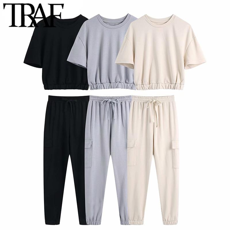 TRAF Women Fashion Tracksuits Cropped Sweatshirt High Elastic Waist Drawstring Cargo Pants Side Pockets Chic Sets Mujer
