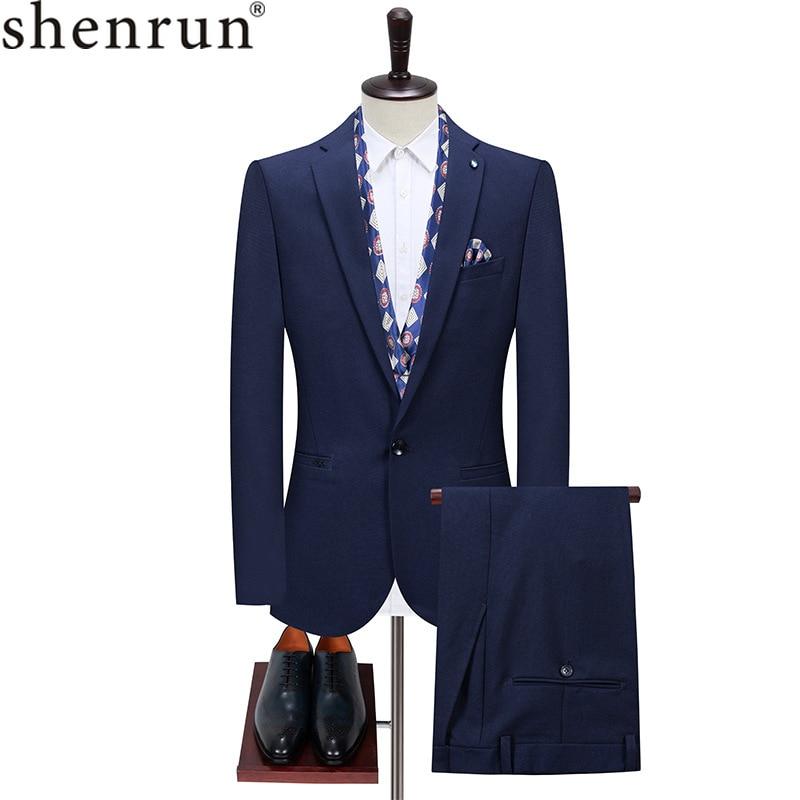 Shenrun الرجال الأزرق الملكي الدعاوى موضة جديدة بدلة عمل 2 قطع سترة السراويل الزفاف العريس حفلة رسمية عادية العمل مكتب البدلة