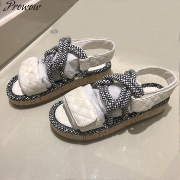 Prowow leather ladies slippers fashion woven rope wood grain bottom sandals and slippers casual beach outdoor open toe sandals