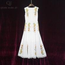 Qian Han Zi 2020 Designer Fashion Summer dress womens sleeveless lace printed beaded slim white elegant mid-length dress