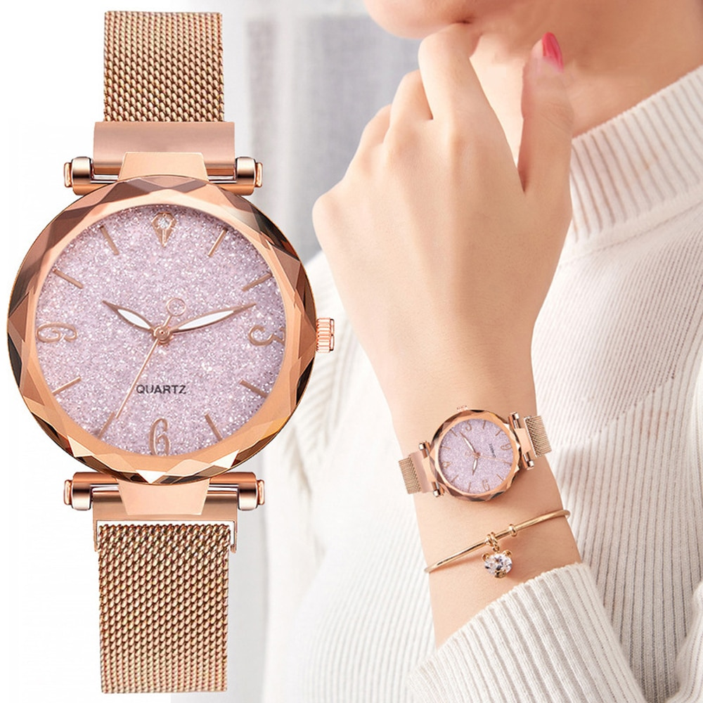 Rose Gold Women Watch 2021 Top Brand Luxury Magnetic Starry Sky Lady Wrist Watch Mesh Female Clock F