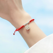 Sterling Silver Red Rope Bracelet Female Korean Simple Personalized Lucky Smile Hand Jewelry Hand Wo