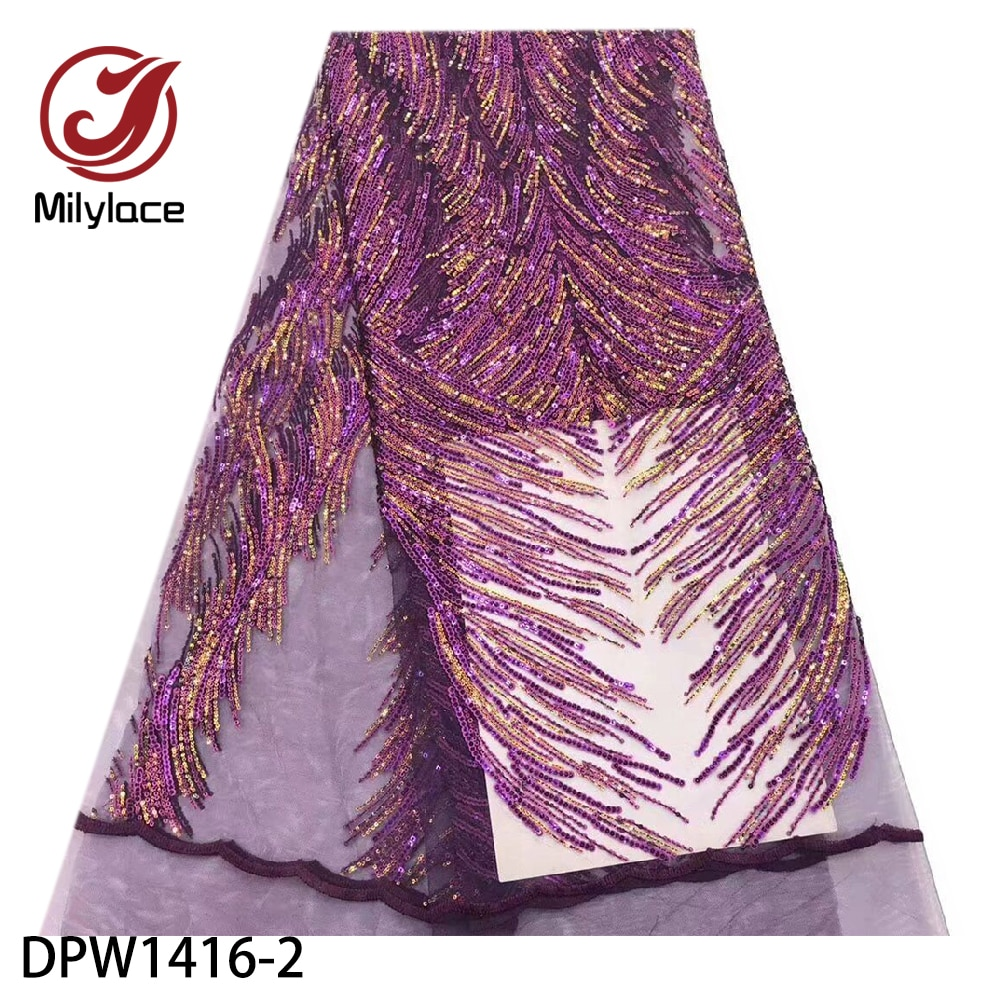 Tecido de Renda Líquida com Moda Lantejoulas para Festa Milylace Brilhante Lantejoulas Africano Metros Alta Qualidade Nigeriano Tecido Renda Dpw1416 5
