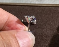 4 5 6 7mm s925 silver four claw square diamond stud earring for women round wedding silver 925 jewelry aros mujer oreja girls