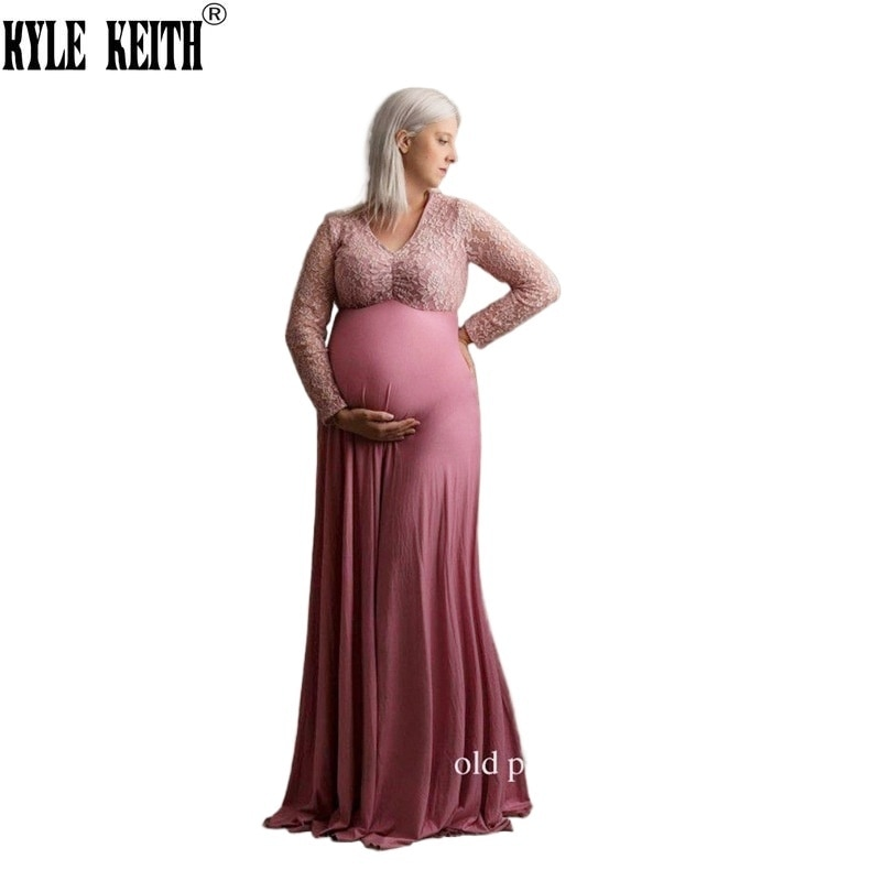 Pregnant Women Long Maxi  Gown Photo Shoot Maternity V Neck Lace Dress Baby Shower Vestido Premama enlarge