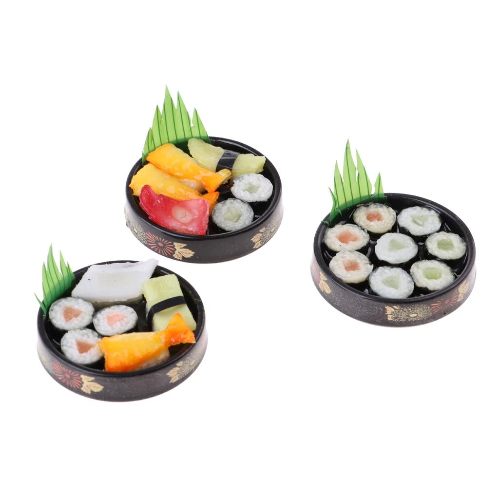 3 шт. 1/6 куклы миниатюрный дом Украшения для кухни яркий японский Еда игрушечные суши