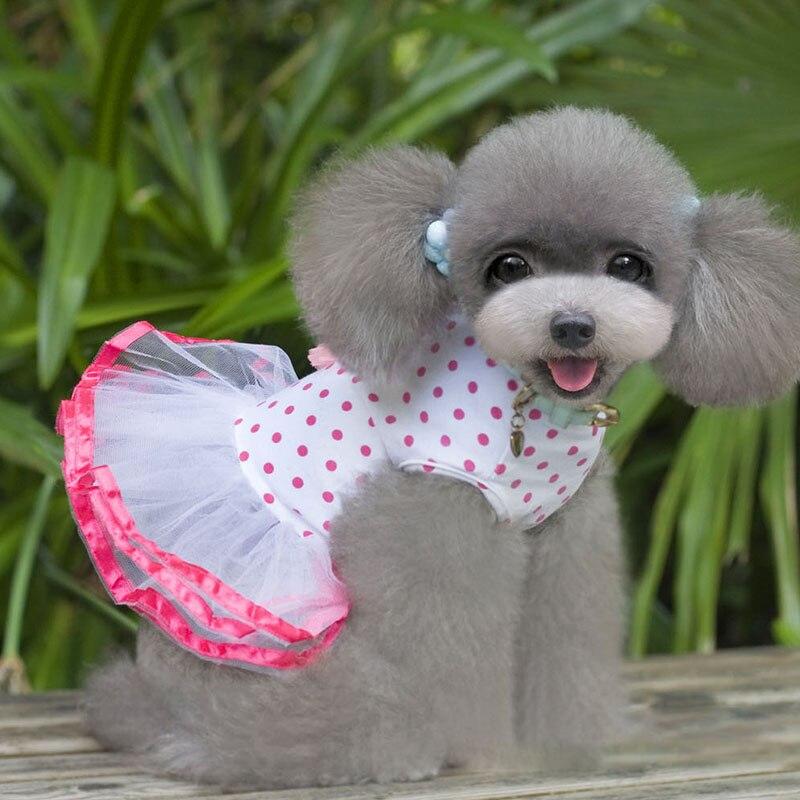 Falda de cereza burbuja de Primavera/Verano, ropa de cachorro mascota, falda para mascotas, vestido para perros Rosa Blanco bonito, suministros para perros