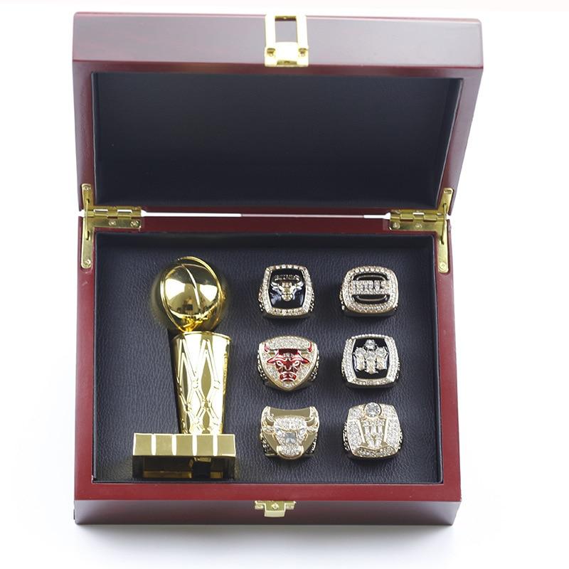 الذهب شيكاغو الثور 6 سنة خاتم البطولة مع الكأس مجموعة Vintage مسابقة كرة السلة بطل المشجعين جامع طبعة هدية