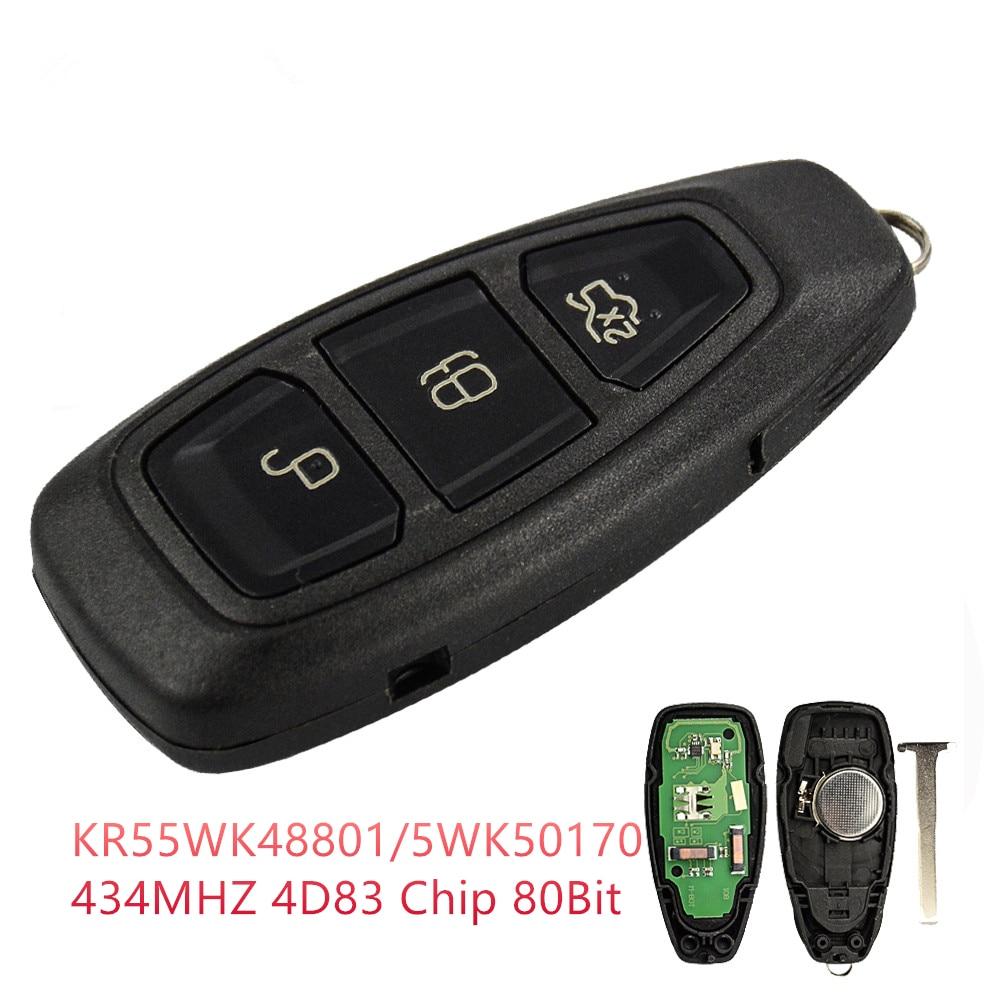 RIOOAK 3 botones 433Mhz 83 Chip llave remota inteligente para Ford Mondeo Fiesta Focus titanio c-max Kuga Refit emergencia Blade Fob